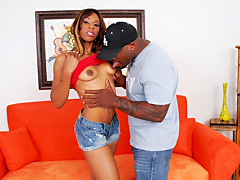 Slim black girl gets her bald pussy fucked hard