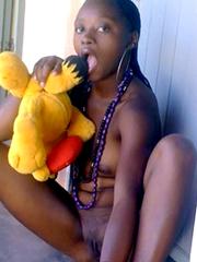 Ebony teens flashing